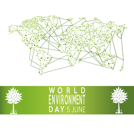 vector of a world environment day, and interconnected map text  over green backdrop