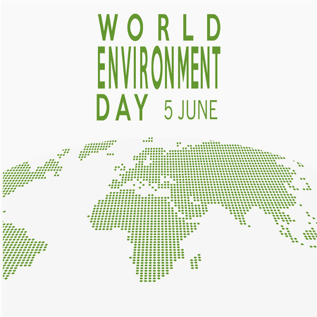 vector of a world environment day, and green dops map text  over white  color backdrop