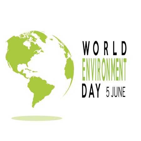 vector of a world environment day, and green planet, text over white  color backdrop Illusztráció