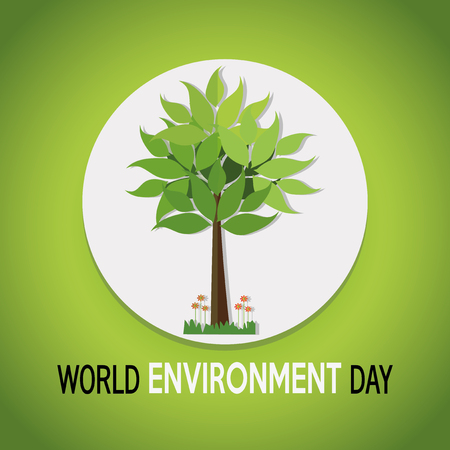 vector of a world environment day, tree over white circle over green  color backdrop Illustration