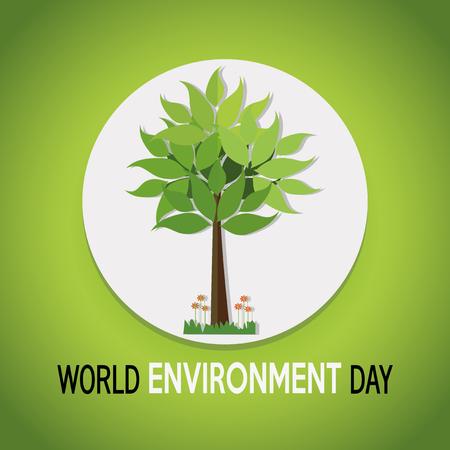 vector of a world environment day, tree over white circle over green  color backdrop Illusztráció