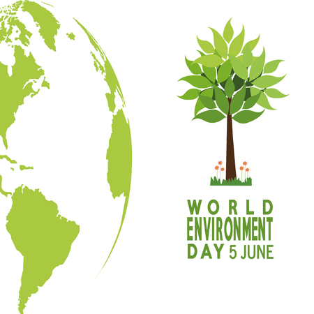 vector  of a world environment day, tree and planet  over green  color backdrop Illusztráció