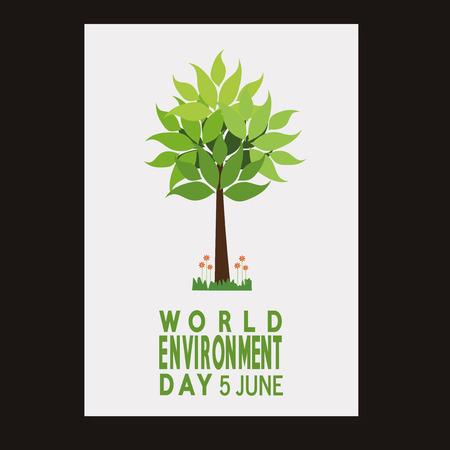 vector  of a world environment day, tree and text  over black  color backdrop Illusztráció