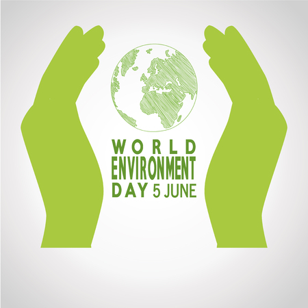 vector  of a world environment day, two hands protecting planet  over white   color backdrop