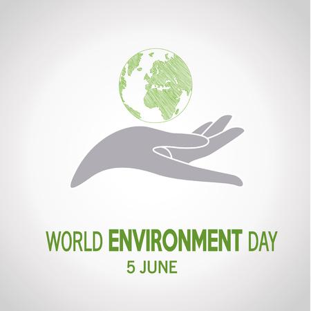 vector  of a world environment day, gray  hand holding planet  over white   color backdrop Illusztráció
