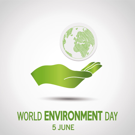 vector  of a world environment day, green  hand holding planet  over white   color backdrop