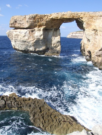 The Azure Window  a natural arch , on the island of Gozo, Malta Stock Photo - 13346923