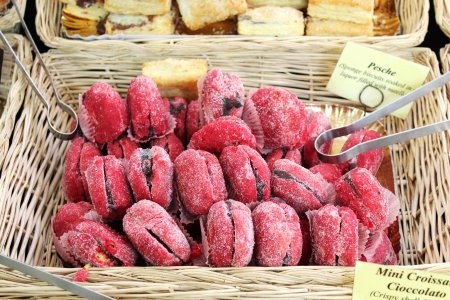 Delicious filled cake biscuits on a market stall