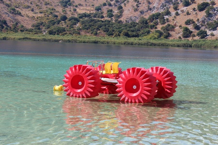 Boat with monster wheels, Kournas Lake, Crete Stock Photo - 16759456