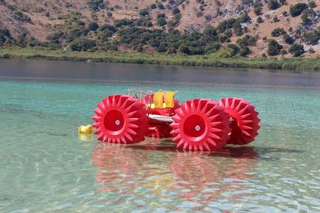 Boat with monster wheels, Kournas Lake, Crete