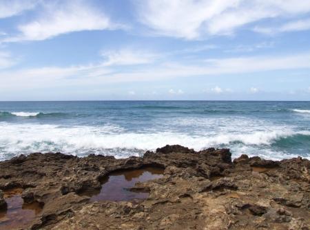 The rocky coastline of Oahu, Hawaii