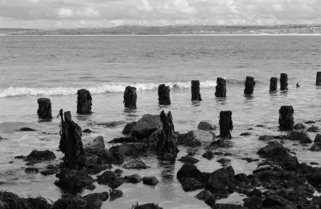 Black and white sea scene from Cornwall, England Stock Photo