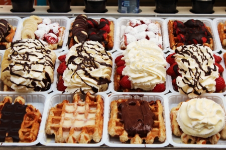 Belgian waffle on a street stall