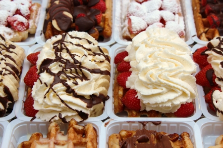 Close up of a waffle on a street stall Stock Photo