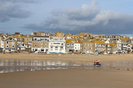 An English fishing village on a stormy day