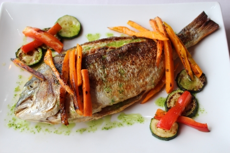 A sea bream prepared and ready to eat