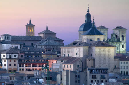 toledo town: Toledo in Spain at twilight.