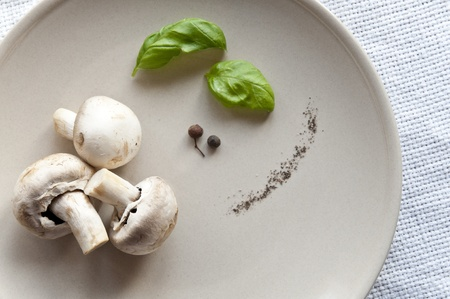 Fresh mushrooms with basil photo