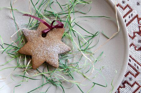Festive powdered star cookie Stock Photo - 11919194