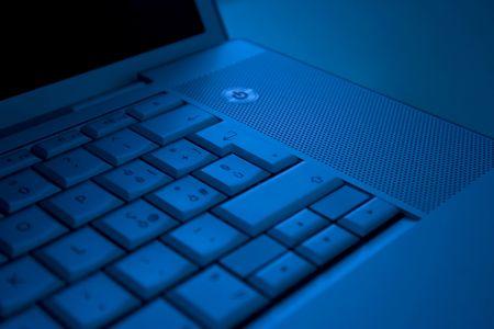 Portatile in blu Stock Photo