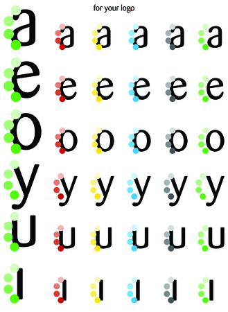 Logo vocali AEOYUI con pallini laterali Logo