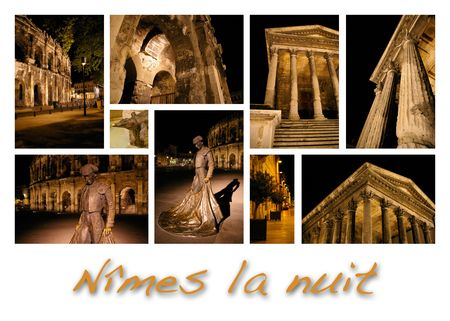 Night N�mes, France Stock Photo