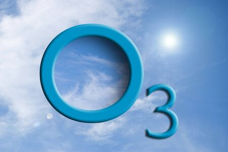Ozone logo on the sky with reflection