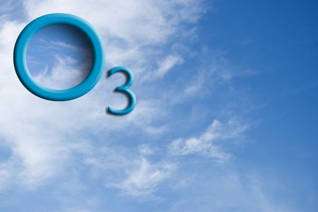 Ozone logo on the skyOzone logo on the sky with reflection