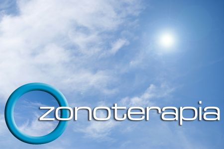 Ozone O3 logo on the sky with reflection
