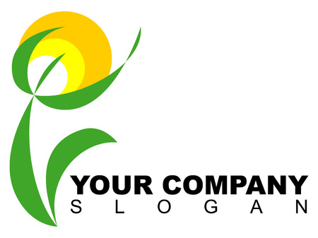 Company logo with floral pattern