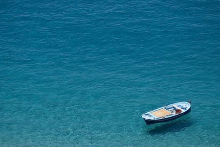 Boat suspended over the water. Scilla, Calabria