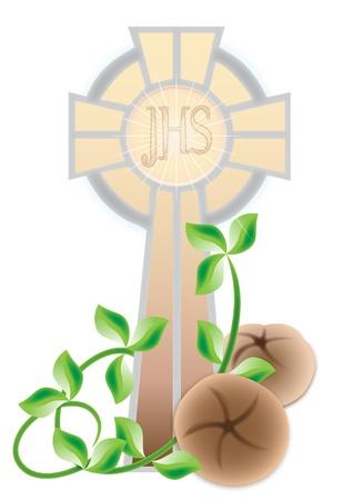 eucharistie: Carte de voeux pour la première communion Illustration