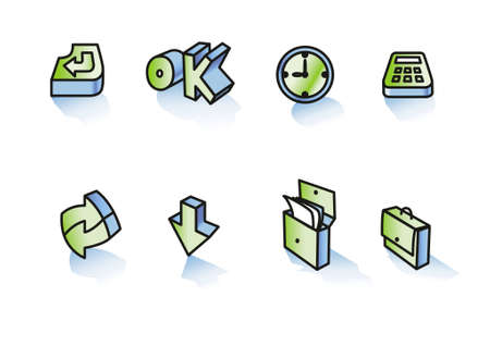 interchange: set of icons, office activity