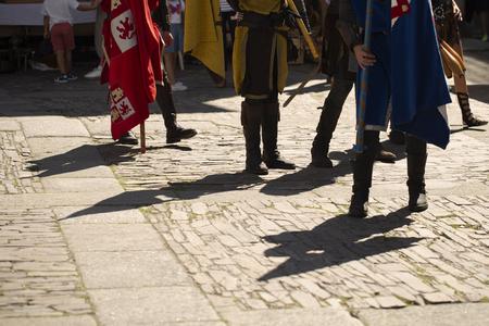 People disguised like medieval soldiers Reklamní fotografie