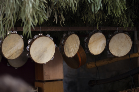 Shop of wooden tambourines
