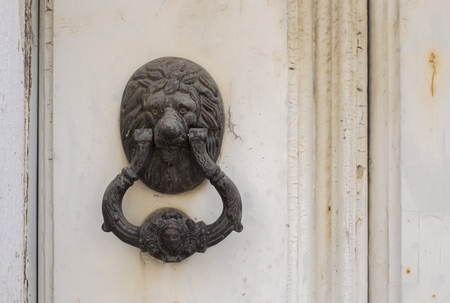 Old lion knocker on wooden door