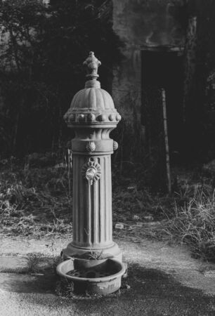 Closeup of vintage hydrant, black and white