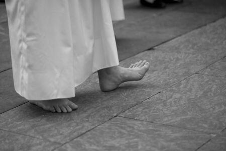 Close up of feet, Holy Week Stok Fotoğraf