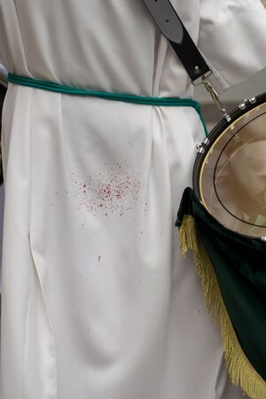 Blood splattered on the costume of a drummer Stok Fotoğraf - 131837523