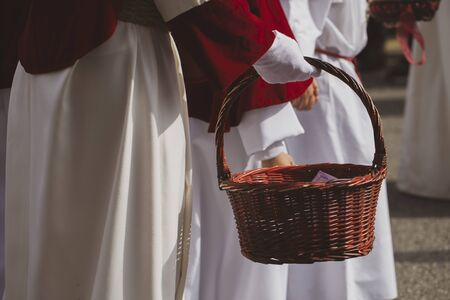 Holding a basket, Holy Week Stok Fotoğraf