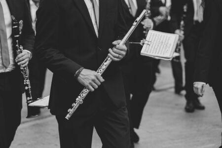 Man holding a transverse flute Stok Fotoğraf