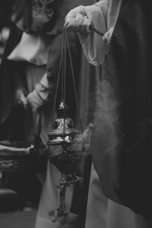 Close up of a censer in a procession, Holy Week Stok Fotoğraf