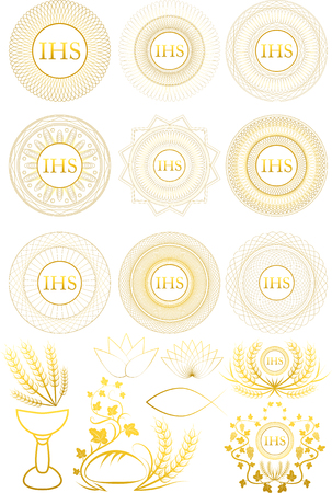 Set of First Communion symbols and elements