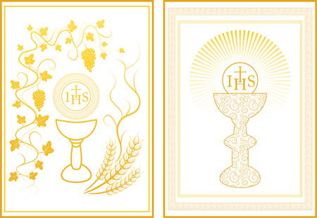 Set of two First Communion cards in gold
