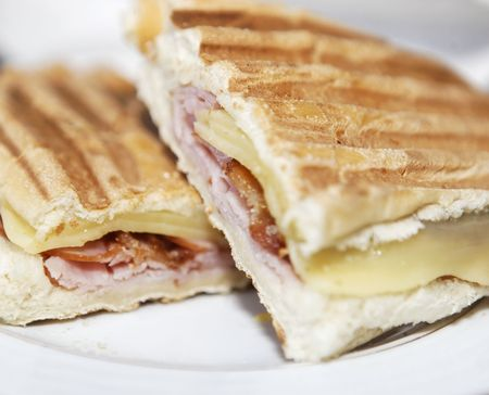 sandwich on a plate with selective focus