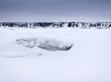 amount of snow near a river photo