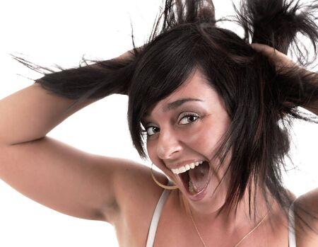 cara sorpresa: mujer sonriendo con una sorpresa cara sobre un fondo blanco