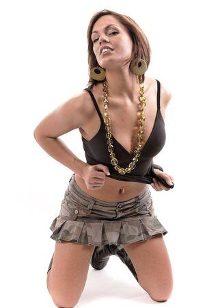 skirts: sexy mujer posando sobre fondo blanco