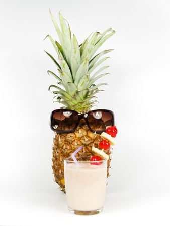 fruit smoothie: pineapple drinking a smoothie on a white background