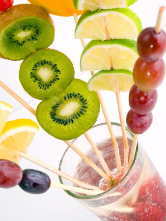 high-key color  photo of various fruit on a glass photo